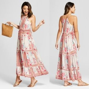Xhilaration Boho Floral Halter Maxi Dress